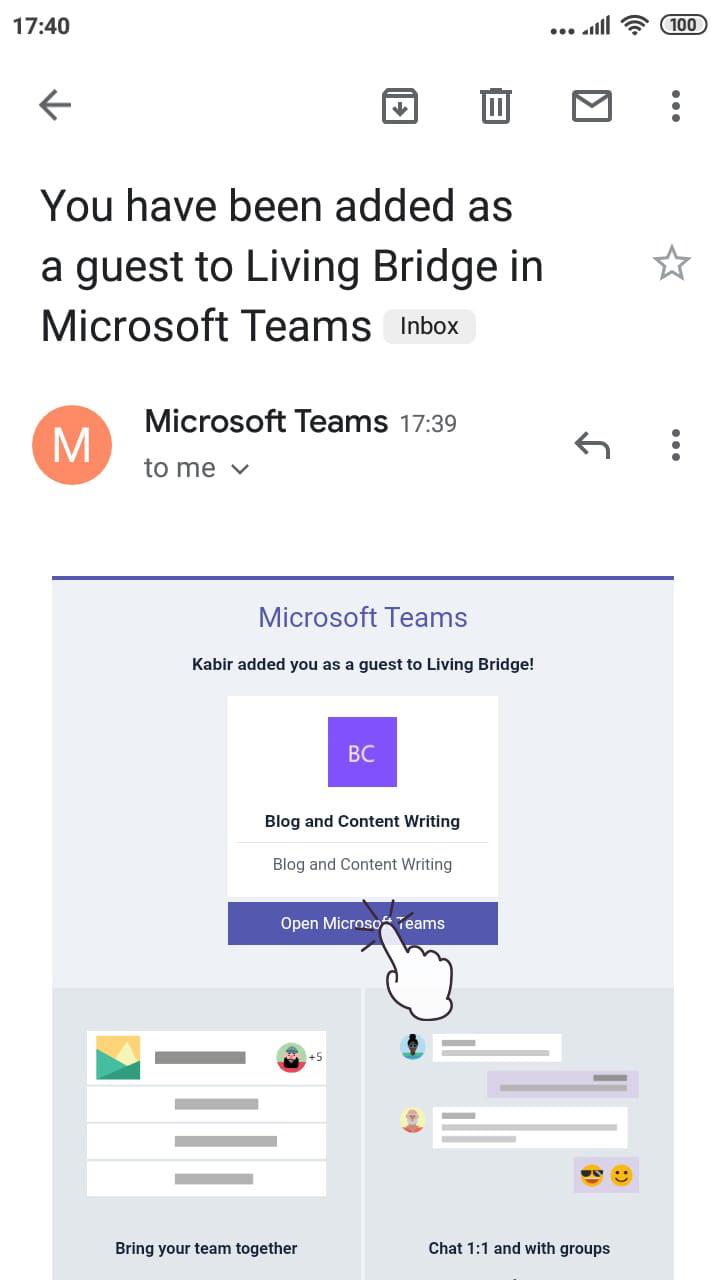 Img 1: Teams Invitation Email